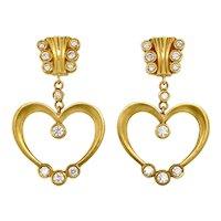 18K Gold Stambolian Diamond Heart Drop Earrings
