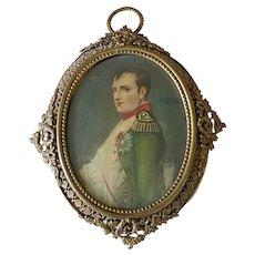 Miniature Profile Portrait of Napoleon in Period Brass Frame