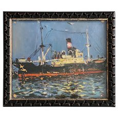 Cargo Ship in Port, Oil on Board Painting