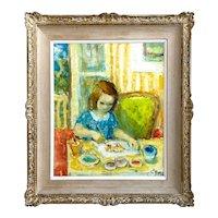 "Boris Simon, Painting of Young Girl ""Petite Fille Dessiniart"""