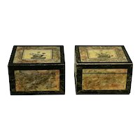 Pair of 19th C. Folk Art Paint Decorated Boxes