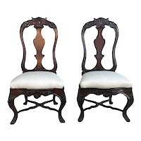 Rare Pair Of 18th Century Portuguese Slipper Chairs