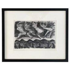"""Adolf Dehn, Lithograph 1930 """"Four End Girls"""""""