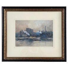 Leonard Marlborough Powell, British Watercolor, Harbor Scene