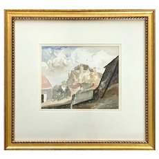 Mid 20th Century Watercolor on Paper Landscape with Cottage