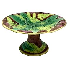 19th C. Majolica Compote Leaf Design