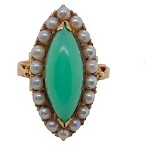 Vintage 14K Gold Green Chalcedony Cultured Seed Pearl Ring