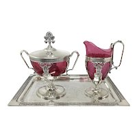 Victorian Silver Plate Creamer & Sugar Set on Tray