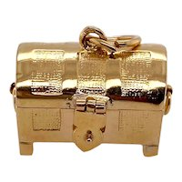 Vintage 14K Gold Treasure Chest Charm