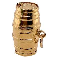 Vintage 14K Gold Medeira Wine Barrel Charm