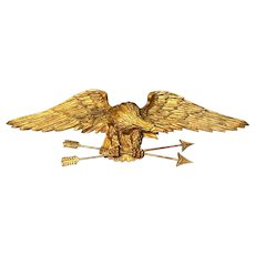 19th Century Carved Gilt Wood Eagle Plaque