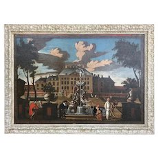17th C Palace Courtyard Painting Dutch School