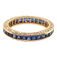 18K Gold Diamond and Sapphire Eternity Band / Ring