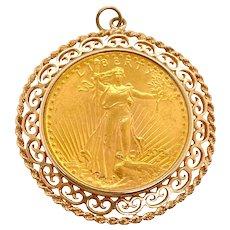 1924 St. Gaudens $20 Gold Coin 14K Gold Pendant