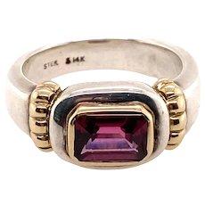 Sterling & 14K Gold Rhodolite Garnet Ring