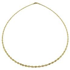 Vintage 14K Gold Choker Necklace Like a Twisted Omega