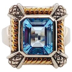 18K Gold Sterling Silver & Blue Topaz Ring