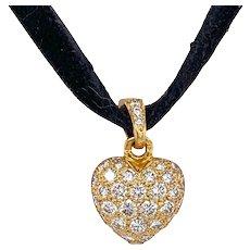 Cartier 18K Gold Pave Diamond Puffy Heart Pendant