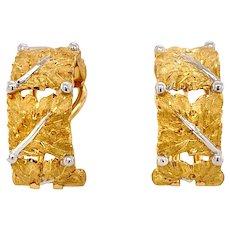 Buccellati Foglie Quadre Leaf Motif 18k Gold Hoop Earrings