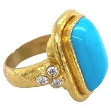 Elizabeth Locke 19K Gold Turquoise & Diamond Trio Ring