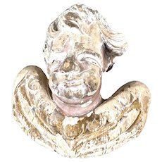 17th C. Carved Wood Italian Cherub Head