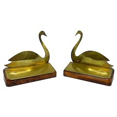 English Late 19th C. Brass Swan Form Bookends
