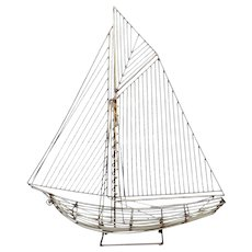 Curtis Jere Free Standing Metal Wire Sailboat Ship Sculpture 1982