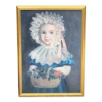 "Giclee Portrait ""Little Girl With Flowers"", 18th C. Copy"