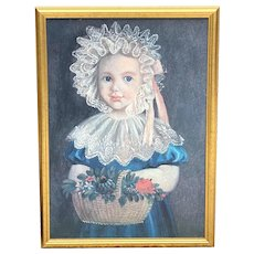 """Giclee Portrait """"Little Girl With Flowers"""", 18th C. Copy"""