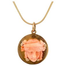 Carved Victorian Coral Head on 14K Gold Pendant / Charm