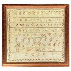 19th C. Needlework Sampler With Alphabet