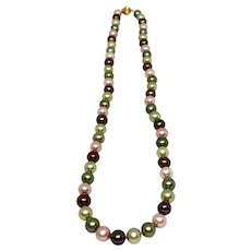 Lovely Strand of Dyed Freshwater Pearls 14k Clasp