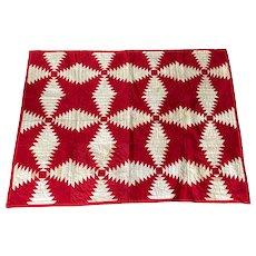 19th C. Textile, Red & White Geometric Crib Quilt