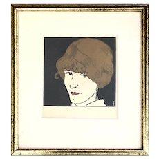 """Jean E. Laboureur French """"Masque Aux Cheveuxd'or"""" Print"""