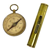 Antique Brass Compass and Level