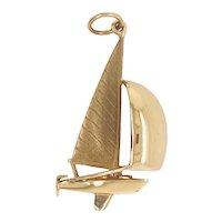 Vintage 14K Large Sail Boat Charm or Pendant
