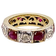 Polki Diamond And Ruby Gold & Silver Ring / Band