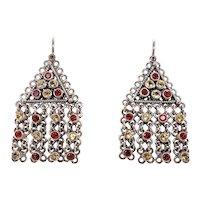 Silver Citrine & Garnet Dangling Pierced Earrings