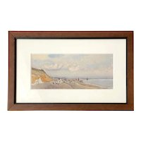 """British Watercolor """"Dunwich Beach"""" Signed EME"""