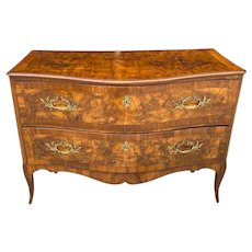 18th C. Italian Walnut Two Drawer Serpentine Chest