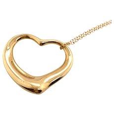 Tiffany & Co 18K Gold Peretti X-Lrg Open Heart Pendant on Chain