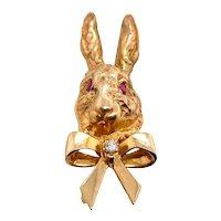 Retro 14K Yellow Tiffany & Co Bunny Rabbit Clip Ruby Eyes