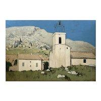 "Robert Humblot "" Landcsape With Church "" Oil On Canvas"