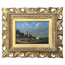 Francois Van Severdonck Oil on Panel, Rooster, Hen & Chicks 1859