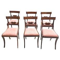 English Regency Set of Six Mahogany Breakfast Chairs