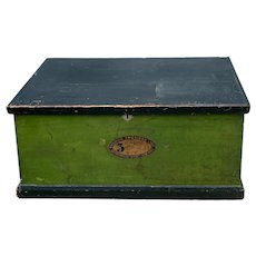 American Late 19th C. Painted Wooden Steamer Trunk