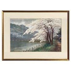 Tasuke Yokouchi Japanese Watercolor Landscape with Cherry Blossoms