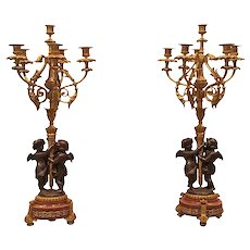 19th Century French Sculptural Bronze Candelabra Garniture