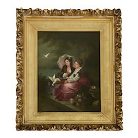 19th C. Oil on Canvas, Two Ladies with Doves