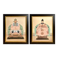 Pair Chinese Ancestor Portraits Watercolor on Silk